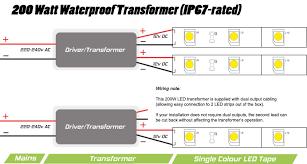 12v 24v 200 watt ip67 transformer for instyle led tape transformer and led tape wiring diagram 12v transformer shown