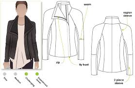 jett biker jacket sewing pattern by style arc biker jacket style with front concealed zip