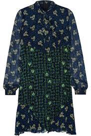 Pussy bow printed silk chiffon mini dress Anna Sui US THE OUTNET