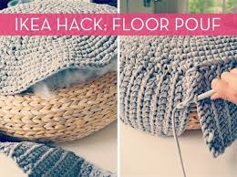 Hack together a knit floor pouf with heaps of fabric yarn, a rattan floor  pouf