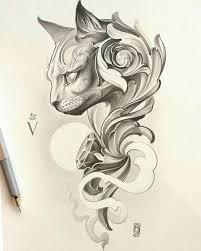 Cat Filagree Tattoo Tetování Kočky Skici Tetování Og Tetování
