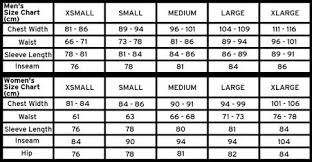 Dc Men Women Size Chart Guide Chest Waist Sleeve Inseam Hip