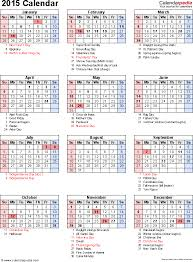 Free Excel Calendar Template Yearly Monthly 2015 2016 2017 Etc 2015