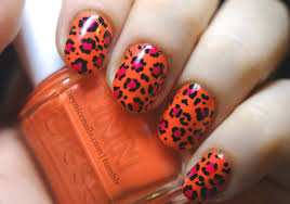 Orange And Pink Leopard Print Nail Art