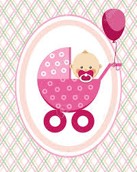 Congratulations Card Template With Baby Girl And Pink Balloon