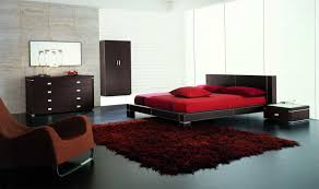 Image Bedroom Design Mesmerezing Red Cover Low Profile Master Bed And Red Fur Rug Ideas On Black Gloss Tiled Floors As Well As Brown Dresser And Cabinet Bedroom Decors Pinterest Mesmerezing Red Cover Low Profile Master Bed And Red Fur Rug Ideas