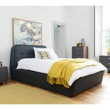 morrison felt solid wood frame ottoman storage bed double grey