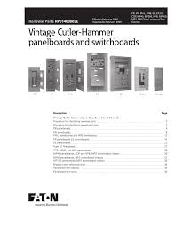 Westinghouse Circuit Breaker Cross Reference Chart Vintage Cutler Hammer Panelboards And Switchboards