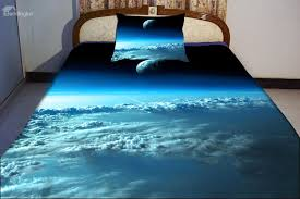 unusual blue sky and star print duvet cover sets galaxy nebula bedding outer space duvet