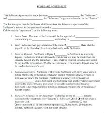 Sublease Agreement Samples Sublease Apartment Apartment Sublease Agreement Template Sublet