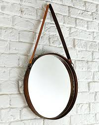 leather strap mirror hanging with round nz