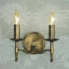 stratton antique brass double wall light