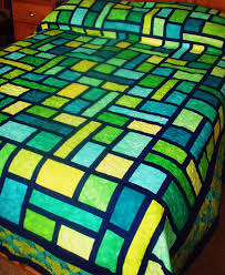 kinda in love with this quilt | quilt designs | Pinterest | Queen ... & Queen Size Quilt in Mosaic Pattern in Green, Yellow and Blue Hand Dyed  Fabrics Adamdwight.com