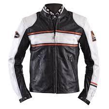 motorcycle jackets helstons winner leather perforated black white orange