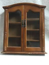 wall hanging curio cabinet shelf glass door wood miniature display case 13 x 15