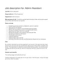 Medical Office Administration Duties Administrative Assistant Job Resume Description Sample Admission