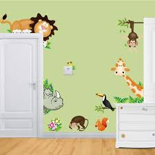 new diy cute jungle wild animals wall decals kids bedroom baby nursery stickers decor pictures in