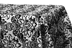 90 x132 damask flocking tablecloth black white