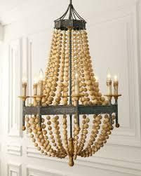 wood bead 8 light chandelier