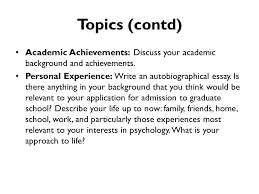graduate school bound program ppt topics contd academic achievements discuss your academic background and achievements