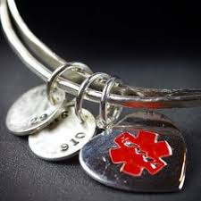 al alert bracelet al alert jewelry al id bracelet sterling silver bangle bracelet al bracelet personalized 1029