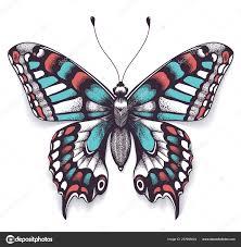 Tropických Realistický Motýl Tetování Se Stínem Stock Vektor