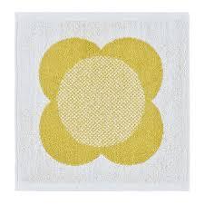 Paula Kiely Designer Summer Flower Stem Towel Lemon Yellow Face Towel