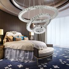 modern bedroom chandeliers awesome modern led crystal ring chandelier lighting remote control 2 3 rings