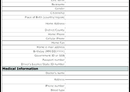 Personal Data Form Template