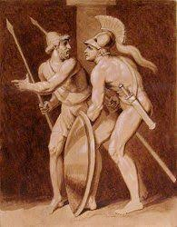 diomedes and odysseus return from their night adventure a drawing by john flaxman see more from world of mythology diomedes and odysseus