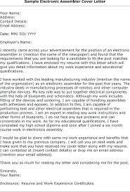 Entry Level Electronic Assembler Resume Assembly Cover Letter Simple Assembler Resume