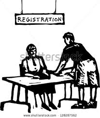 desk clipart black and white. Reference Desk Clip Art. Black And White Vector Illustration Of A Registration Office Clipart B