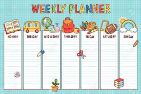 Weekly Planner For Elementary School Cute Template With Cartoon