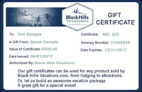 Gift Certificate Sign Gift Certificates Black Hills Vacations Travel Deals
