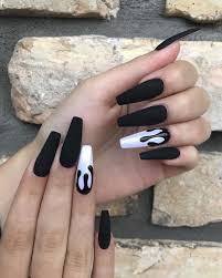 Coffin Black Nail Designs Matte Black Nails Matte Black Nail Design Matte Black Nail