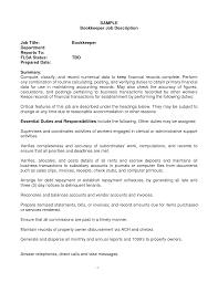 Job Wining Bookkeeper Resume For Job Description