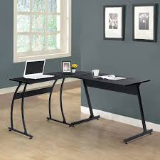 com black finish metal wood l shape corner computer desk pc laptop table workstation home office kitchen dining