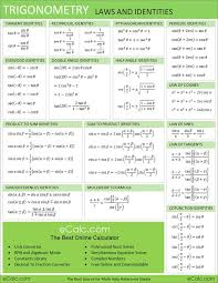 trigonometry laws and identities math sheet calculus  trigonometry laws and identities math sheet