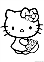 Little kitty looks confused which shoe to wear. Hello Kitty Coloring Pages Bring A Basket Of Flowers Coloring4free Coloring4free Com
