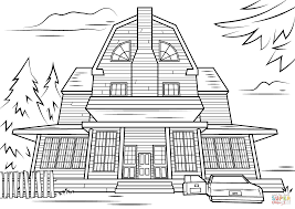Haunted House Coloring Pages Scary Haunted House Coloring Page ...