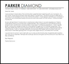 construction superintendent cover letter sample superintendent cover letter