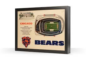Soldier Field Chicago Bears Seating Chart Chicago Bears Soldier Field 3d Wood Stadium Replica 3d Wood Maps Bella Maps