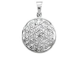 sterling silver 21mm flower of life sacred geometry pendant
