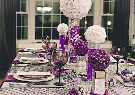 charcoal gray and purple decor | White and purple table decorations,  centerpieces for Christmas or