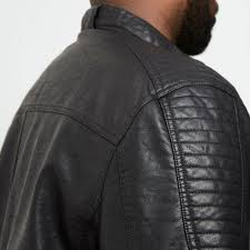 river island men s coats jackets big and tall faux leather racer neck jacket 300139