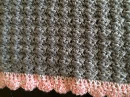 crochet baby car seat blanket in shell stitch with shell edging