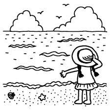 海と少女夏休み夏の行事学校無料白黒イラスト素材