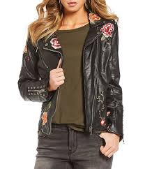 jackets womens gibson latimer gibson latimer faux leather embroidered moto jacket black gift to live