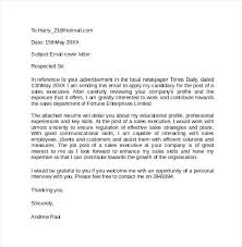 Example Cover Leter Cover Letter Through Email Example Email Cover Letter Samples