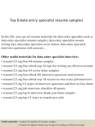 Data Entry Resume Samples Top 8 Data Entry Specialist Resume Samples